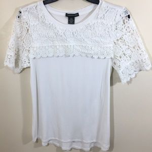 Adrianna Papell Lace Detail Tee Shirt Sz S